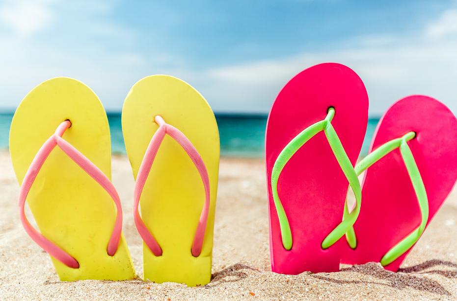 Flip Flops in the Sand at the Beach